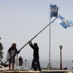 Het 'hijsen'van de Argentijnse vlag